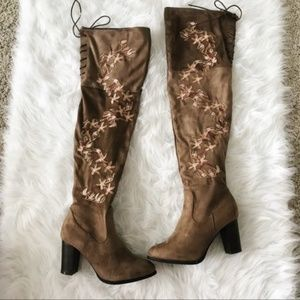 NWB Embroidered Floral Over the Knee Boots